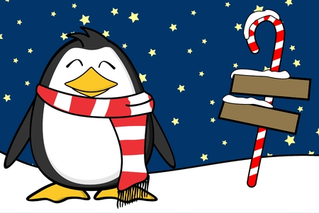 Christmas funny penguin cartoon expression with red scarf.