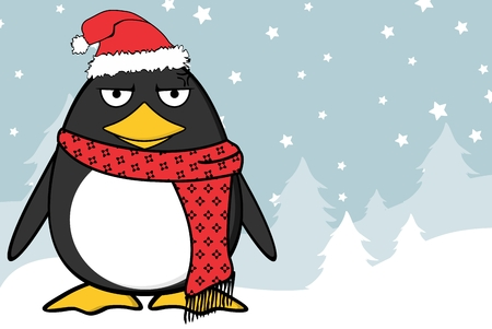 Christmas funny penguin cartoon expression with red scarf and hat.
