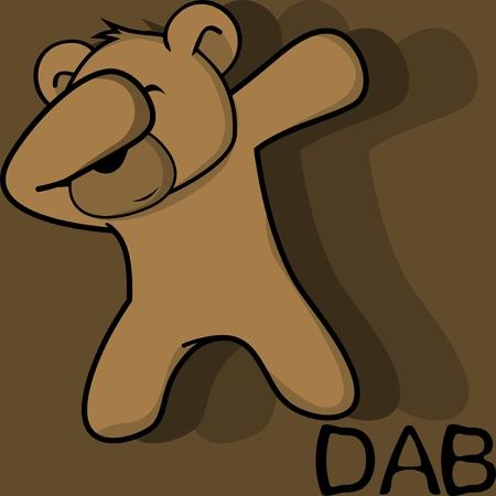 Dab dabbing 포즈 테디 베어 아이 만화 벡터