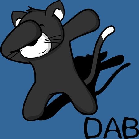 Dab dabbing pose cat kid cartoon in vector format.