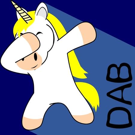 Dab dabbing pose unicorn kid cartoon in vector.