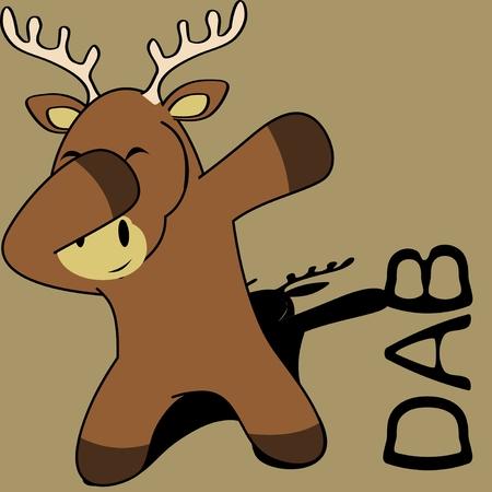 Dab dabbing pose deer kid cartoon in vector format.