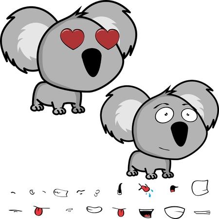 Cute little head baby koala Illusztráció