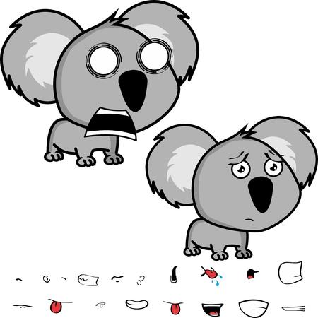 Cute little head baby koala Ilustrace