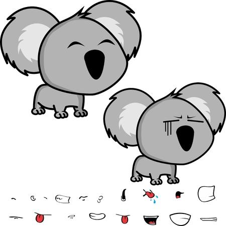 Baby koala expressions set