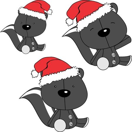 xmas sit baby skunk cartoon santa claus hat set in vector format