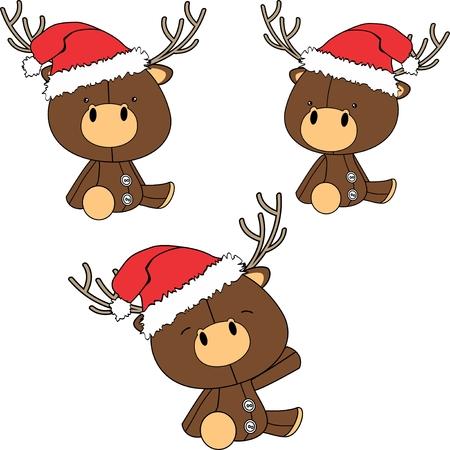 Baby deer cartoon set vector
