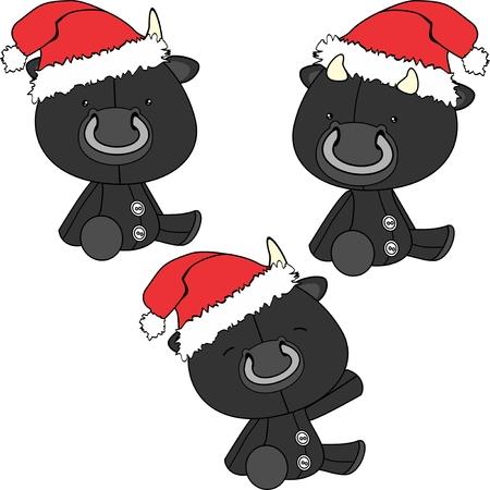 xmas sit baby bull cartoon santa claus hat set in vector format