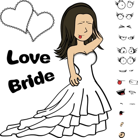 Beautiful young bride cartoon expressions set in vector format very easy to edit Ilustração