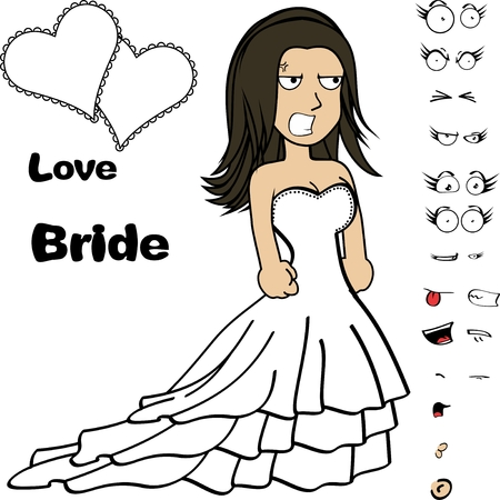 Beautiful young bride cartoon expressions set in vector format very easy to edit