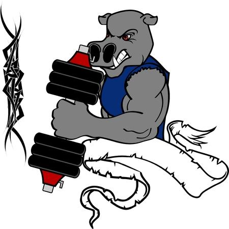 Hippo cartoon illustration lifting weights.