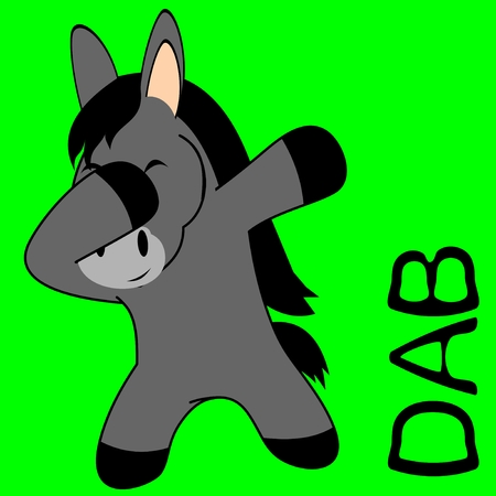 dab dabbing pose donkey kid cartoon in vector format very easy to edit
