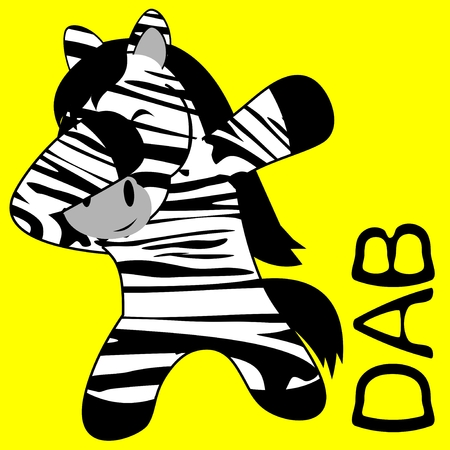 dab dabbing pose zebra kid cartoon in vector format very easy to edit  イラスト・ベクター素材