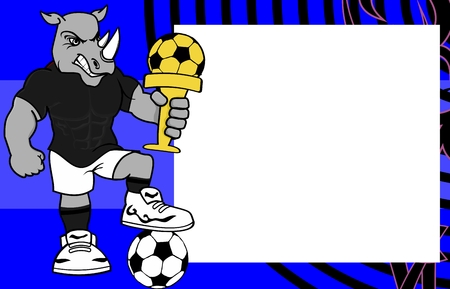 strong sporty rhino soccer soccer player cartoon picture frame background in vector format