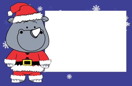 Cute rhino cartoon Christmas frame picture background in vector format very easy to edit. Illustration