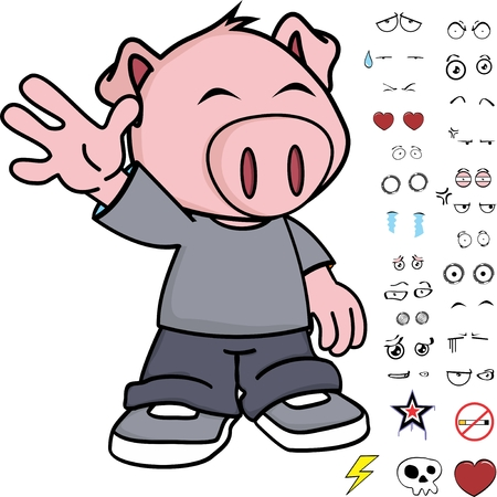 Cute little kid pig expressions set in vector format very easy to edit