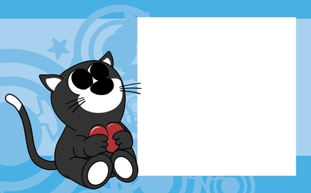 cute baby cat valentine picture frame background in vector format very easy to edit