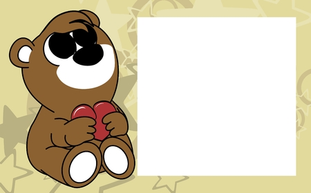 cute baby teddy bear valentine picture frame background in vector format very easy to edit Illustration
