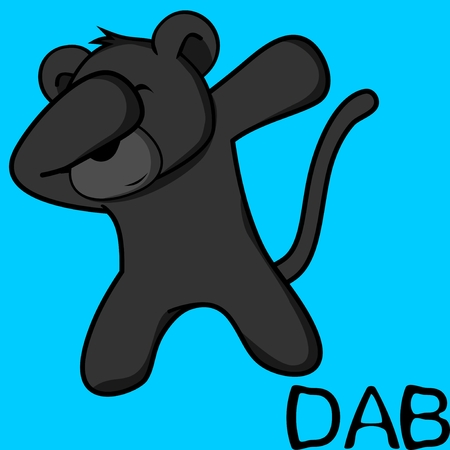 dab text, dabbing pose panther kid cartoon in vector format very easy to edit