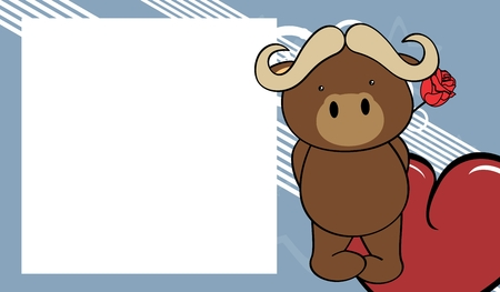 Cute baby oxen love valentine picture frame background in vector format very easy to edit