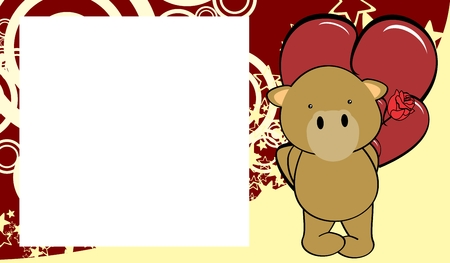 Cute baby camel love valentine picture frame background in vector format very easy to edit