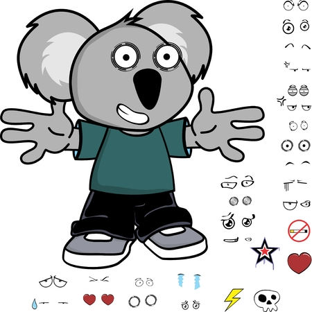 cute little kid koala expressions set in vector format very easy to edit