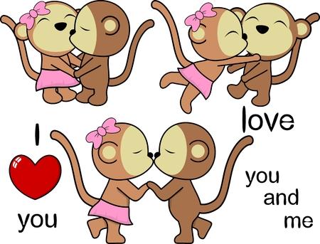 lovely cute monkey kissing cartoon love valentine set in vector format