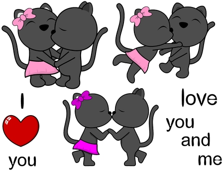 lovely cute panther kissing cartoon love valentine set in vector format Illustration