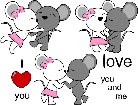 lovely cute mouse kissing cartoon love valentine set in vector format Illustration