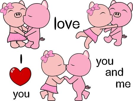 lovely cute pig kissing cartoon love valentine set in vector format Illustration
