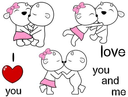 lovely cute goat kissing cartoon love valentine set in vector format