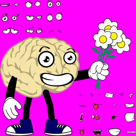 funny brain cartoon expressions set in vector format very easy to edit