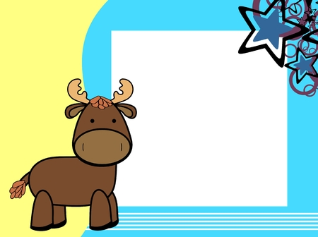 cute plush moose cartoon picture frame background in vector format Standard-Bild - 109114518