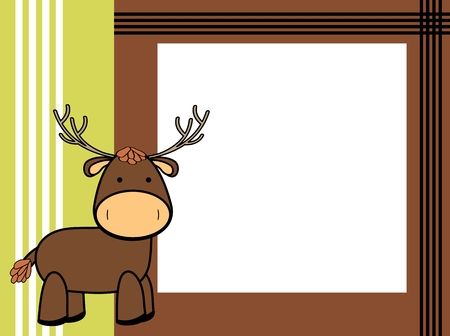 cute plush deer cartoon picture frame background in vector format Standard-Bild - 109114525