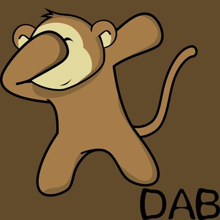 Dab dabbing pose monkey Ilustrace