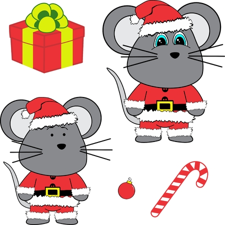 Cute mouse claus costume cartoon xmas collection