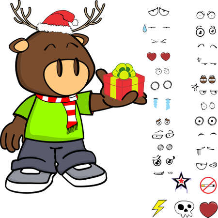funny deer kid cartoon xmas collection set in vector format Illusztráció