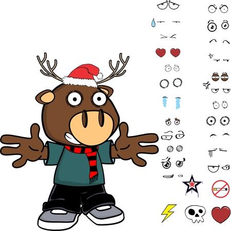 funny deer kid cartoon xmas collection set in vector format Illustration