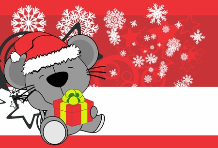 cute baby mouse cartoon holding xmas gift box background card in vector format