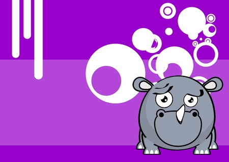 cute baby rhino ball style cartoon expression background in vector format very easy to edit