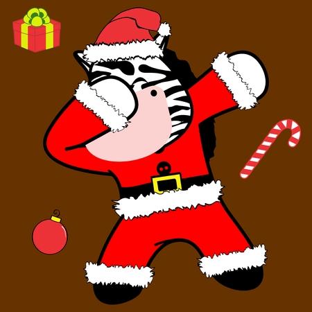Dab dabbing pose zebra xmas claus costume cartoon in vector format very easy to edit