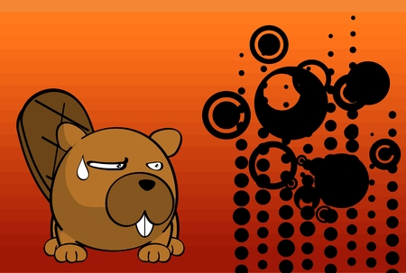 cute baby beaver ball style cartoon expression background in vector format very easy to edit