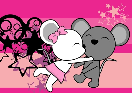 cute mouse couple cartoon valentine love background in vector format very easy to edit Illusztráció