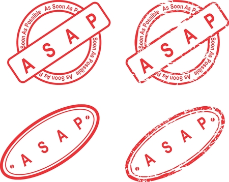 ASAP red stamp isolated collection in  format
