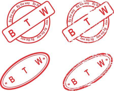 BTW red stamp acronym sticker collection Ilustracja