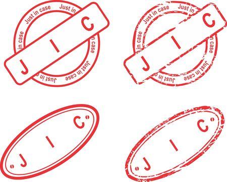 JIC red stamp acronym sticker collection Ilustracja