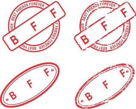 BFF red stamp acronym sticker collection Ilustracja