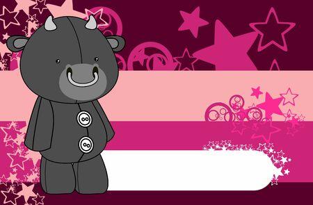 Cute plush bull toy  style cartoons Illustration