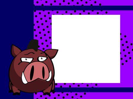 Wild boar cartoon picture frame