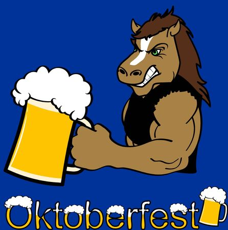Oktoberfest strong horse cartoon sticker in vector format